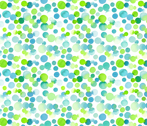 Watercolor Dots in Blue/Green fabric by dinaramay on Spoonflower - custom fabric