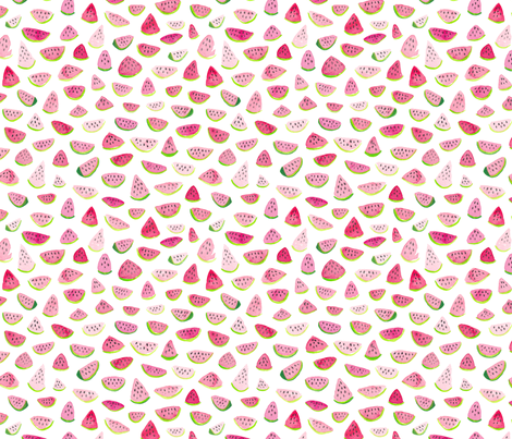 Watercolor Watermelons fabric by dinaramay on Spoonflower - custom fabric