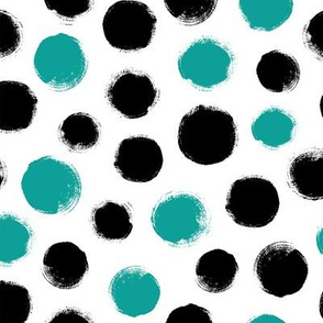 Grunge Polka Dot in Turquoise/Black