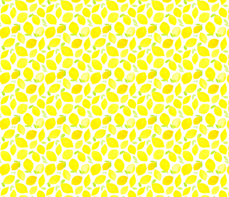 Watercolor Lemons fabric by dinaramay on Spoonflower - custom fabric