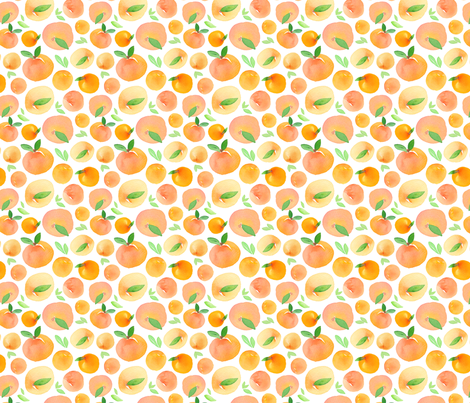 Watercolor Peaches fabric by dinaramay on Spoonflower - custom fabric