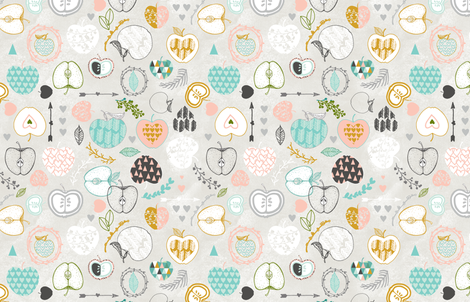 Apple Love Spring (light) fabric by nouveau_bohemian on Spoonflower - custom fabric