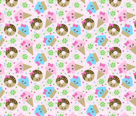 kawaii snacks fabric by tictactogs on Spoonflower - custom fabric