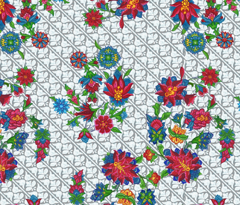 Flowers (grey and white background) fabric by kirpa on Spoonflower - custom fabric