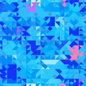 Blue Mod Triangles Geometric
