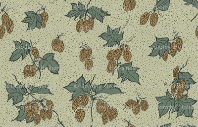 green and mustard hops all over a pale green BG