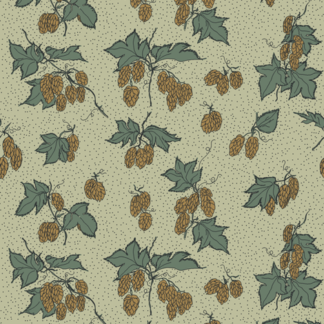 green and mustard hops all over a pale green BG fabric by a_bushel_of_hops on Spoonflower - custom fabric