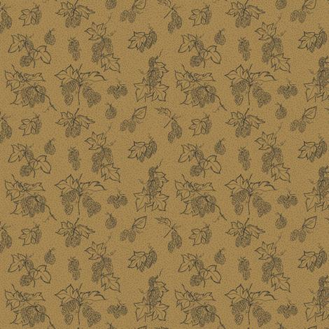 Hop flowers on Mustard  fabric by a_bushel_of_hops on Spoonflower - custom fabric