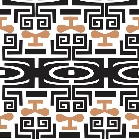 Tattoo_black_and_coffee fabric by malolo on Spoonflower - custom fabric