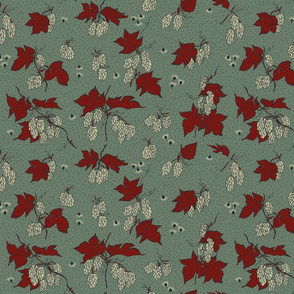 pale green hops with red leaves and soft coloured burr on a dark green BG