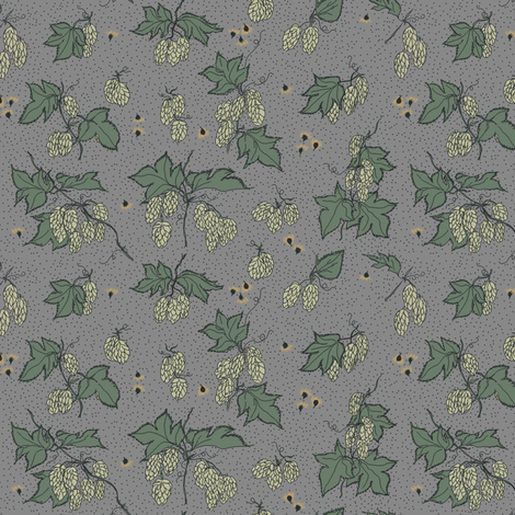 pale green hops with dark green leaves and mustard coloured burr on a greyBG fabric by a_bushel_of_hops on Spoonflower - custom fabric