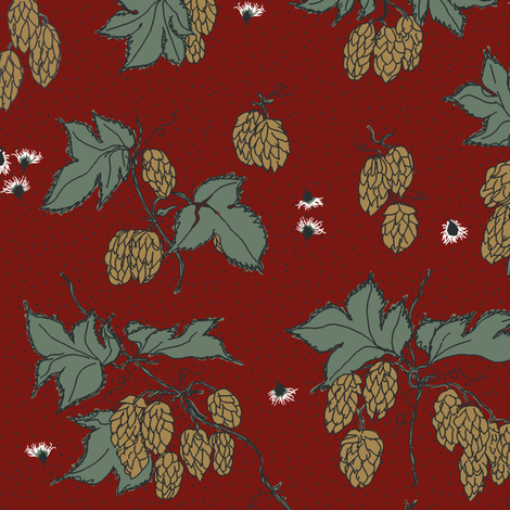 mustard hops with dark green leaves and light coloured burr on a red BG fabric by a_bushel_of_hops on Spoonflower - custom fabric