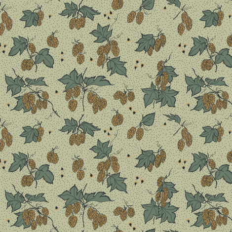 mustard hops and burr with dark green leaves on a pale green BG fabric by a_bushel_of_hops on Spoonflower - custom fabric