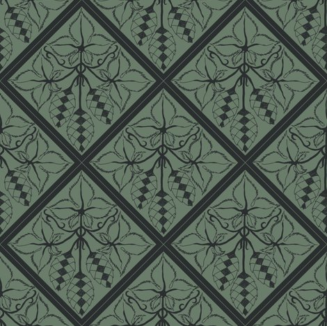 Rrrtile_repeat_45_deg_diamond_shape_charcoal_outline_on_dk_green_bg__shop_preview