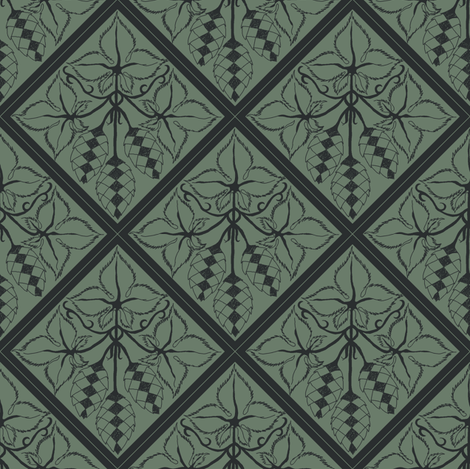Formal charcoal hop diamonds on a dark green BG fabric by a_bushel_of_hops on Spoonflower - custom fabric