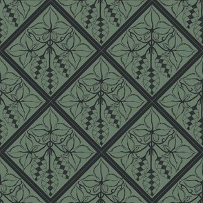 Formal charcoal hop diamonds on a dark green BG