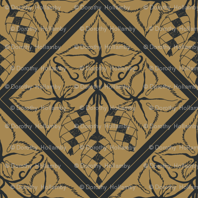 Formal charcoal hop diamonds on a mustard BG