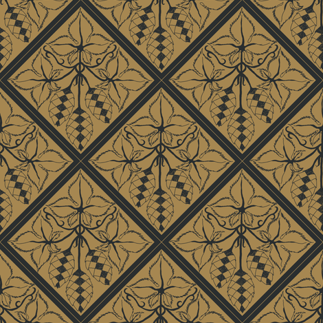 Formal charcoal hop diamonds on a mustard BG fabric by a_bushel_of_hops on Spoonflower - custom fabric