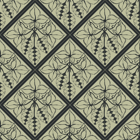 Formal charcoal hop diamonds on a pale green BG fabric by a_bushel_of_hops on Spoonflower - custom fabric