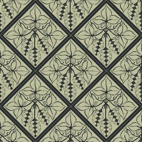 Formal charcoal hop diamonds on a pale green BG