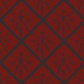 Formal charcoal hop diamonds on a red BG