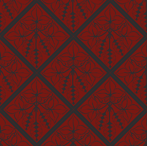 Formal charcoal hop diamonds on a red BG fabric by a_bushel_of_hops on Spoonflower - custom fabric