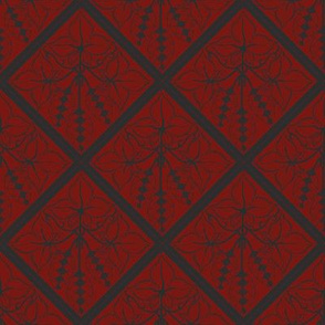 Formal charcoal hop diamonds on a red BG