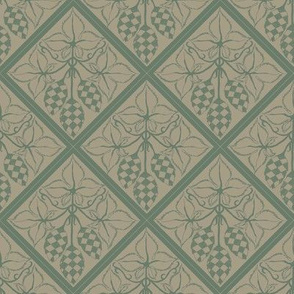 dark green hop diamonds outlined on an old linen BG
