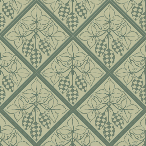dark green hop diamonds outlined on a pale green BG fabric by a_bushel_of_hops on Spoonflower - custom fabric