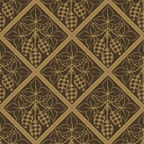 mustard hop diamonds outlined on a dark brown BG