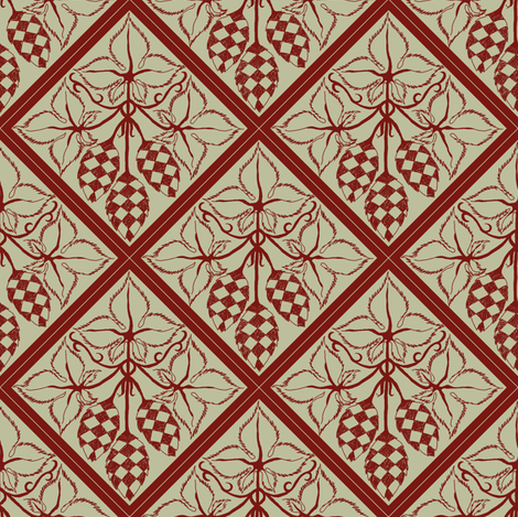 red hop diamonds outlined on a pale green BG fabric by a_bushel_of_hops on Spoonflower - custom fabric