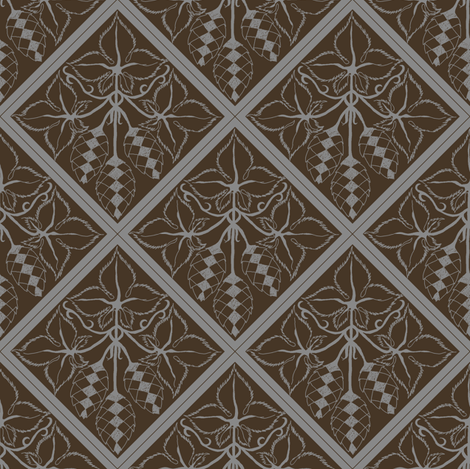 Formal grey hop diamonds on a dark brown BG fabric by a_bushel_of_hops on Spoonflower - custom fabric