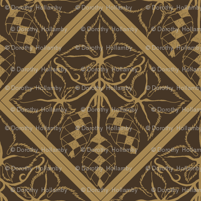 Formal mustard hop diamonds on a dark brown BG