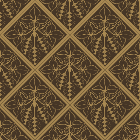 Formal mustard hop diamonds on a dark brown BG fabric by a_bushel_of_hops on Spoonflower - custom fabric