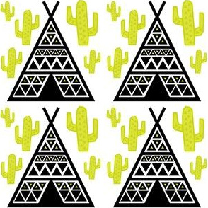 Teepee Black on White with Cactus