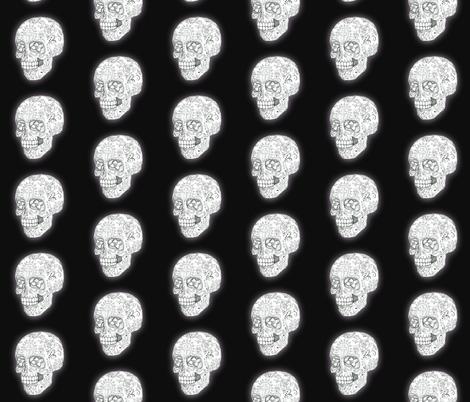 Sugar Skull Sketch in black smaller fabric by shelleyfaye on Spoonflower - custom fabric