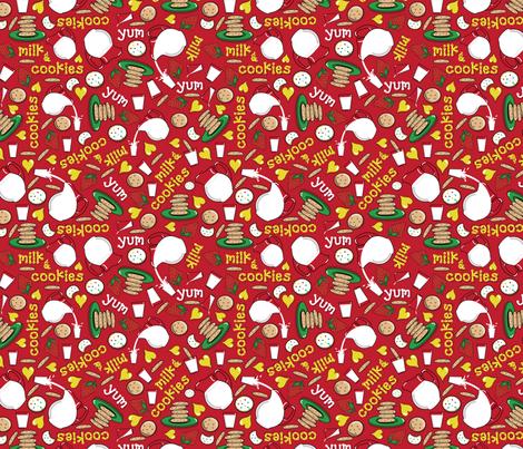 Tumbling Milk & Cookies fabric by margaretbucklew on Spoonflower - custom fabric