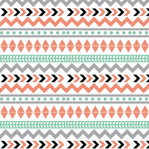 Tribal - Coral, mint, and gray