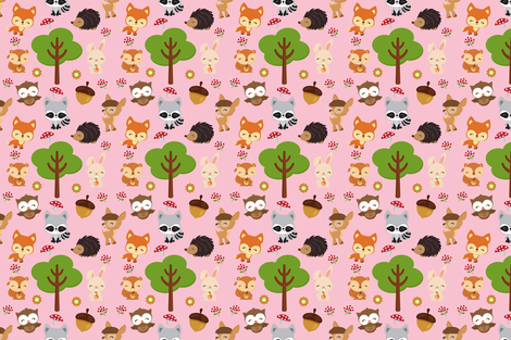 Pink Woodland Fabric fabric by snapdragonandfinn on Spoonflower - custom fabric