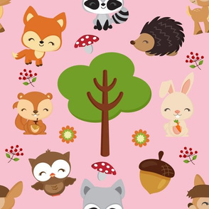 Pink Woodland Fabric