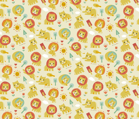 King Of The Jungle: Lion and Lioness fabric by ceneri on Spoonflower - custom fabric