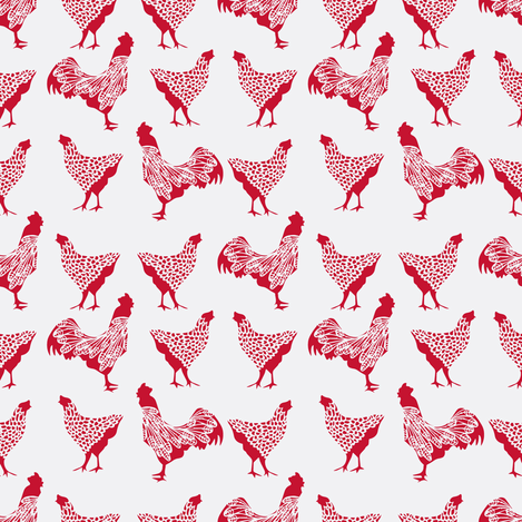 Red Chicken on White fabric by thehighfiber on Spoonflower - custom fabric