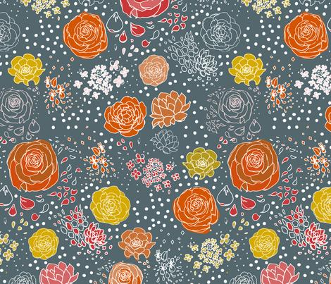 Red Navy Retro Flower WP fabric by mrshervi on Spoonflower - custom fabric