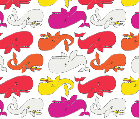 Whale Tail Multi brights fabric by onelittleprintshop on Spoonflower - custom fabric