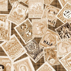 Late 19th Century Stamps ~ Sepia Linen Luxe