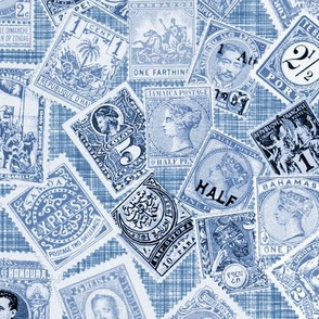 Late 19th Century Stamps ~ Blue and White Linen Luxe