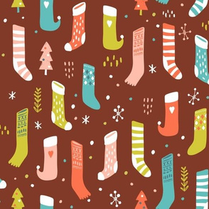Colorful Christmas Stockings in Brown
