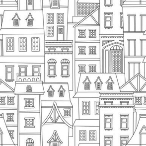 Quirky Houses and Buildings - Black and White