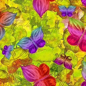 BUTTERFLIES EXOTIC JUNGLE ORCHID FLOWERS Large