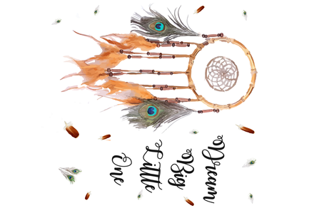 36 x 36 Dream Catcher Dream Big Little One Peacock Feathers fabric by jenlats on Spoonflower - custom fabric